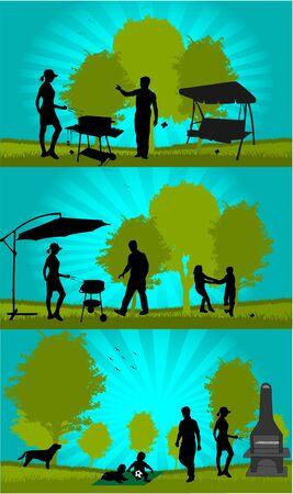picnic in the garden Vector