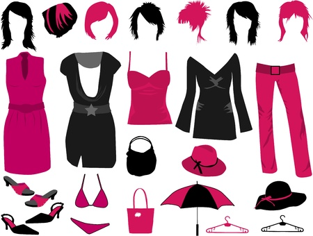Womens fashion - clothes, hairstyles and accessories  Vector