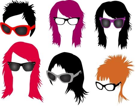 여성의 패션 - 머리와 안경 일러스트