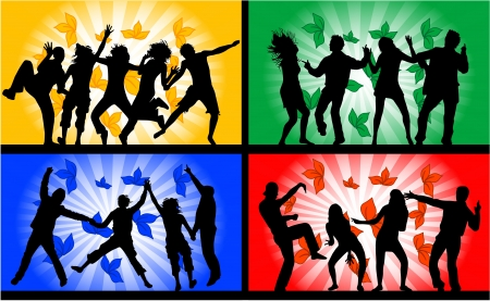 dance shadow: Dancing people, illustrations in four colors