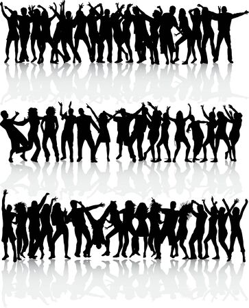 fan dance: Dancing silhouettes - large collection Illustration