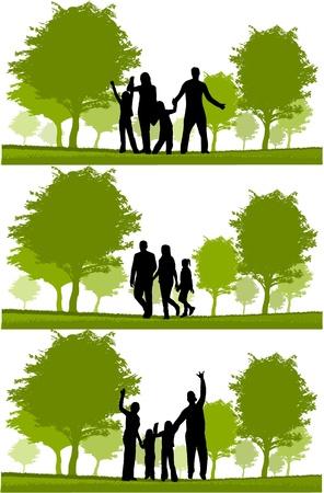 Happy family walking  Ilustracja