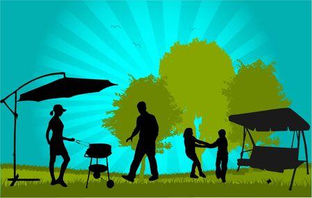 Familia de picnic en el jardín - ilustración