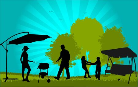 Family picnic in the garden - illustration Vector