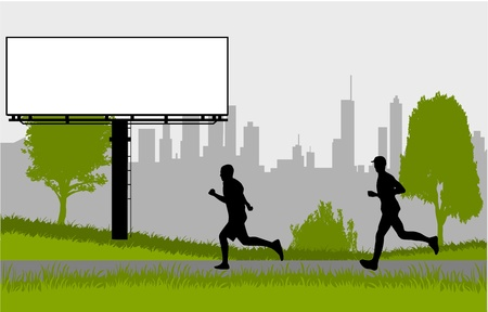 Running - silhouettes of men in the park Vector