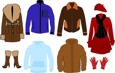 ropa de invierno: Ropa de invierno Vectores