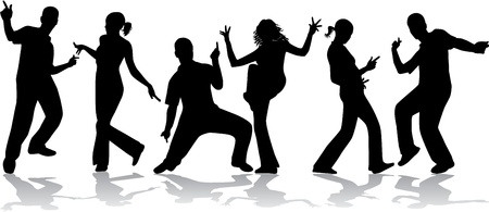 Dancing people -grunge background  Stock Vector - 14850812