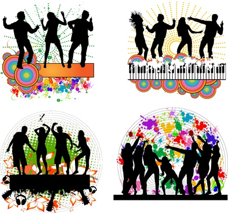keyboard player: Dancing people -grunge background  Illustration
