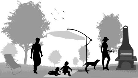 dog eating: picnic in the garden