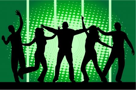 Dancing people -grunge background  Illusztráció
