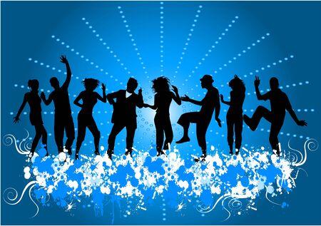 disco dancer: Dancing people -grunge background  Illustration