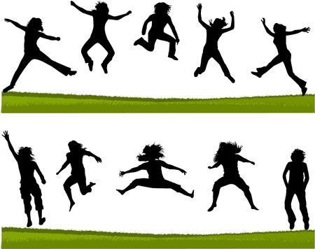 salto largo: Siluetas de salto de longitud personas