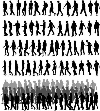 mensen silhouetten Stock Illustratie