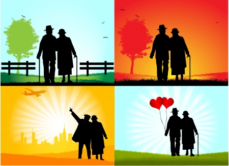 happy old age: Senior Couple ,   graphic