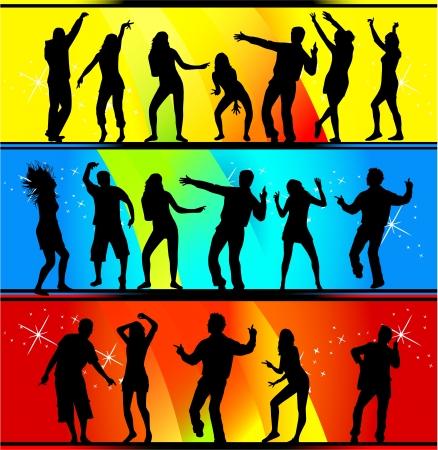 girl shadow: dancing people