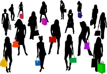 fashionable women going shopping  Vector