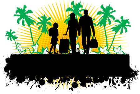 Summer background with silhouette family Stock Vector - 16259817