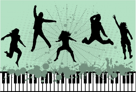 silhouette of jumping people