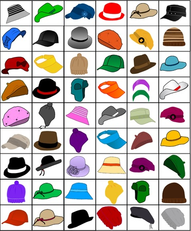 woman wearing hat: collection of caps and hats