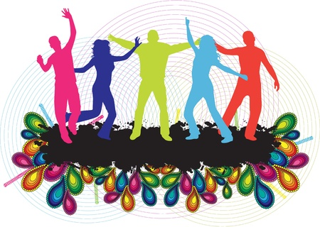 dance shadow: Party People Background - Dancing Young People