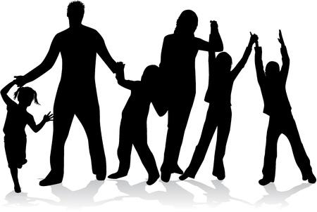 famiglia numerosa: Profili di famiglia numerosa Vettoriali