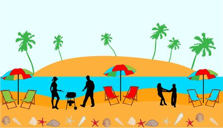 picnic blanket: Beach - vector illustration