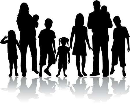 man shadow: Profiles of large family Illustration