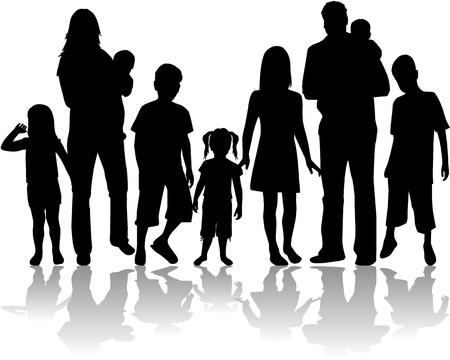 Profili di famiglia numerosa Vettoriali