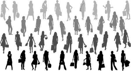 train ticket: Women silhouettes - bag ,vector work Illustration