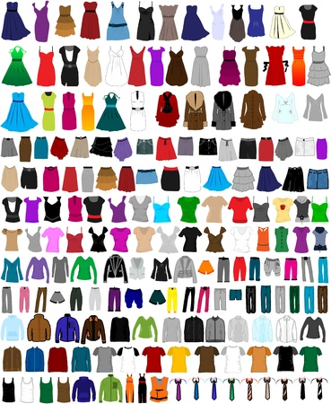 clothing shop: Large set of clothes for men and women
