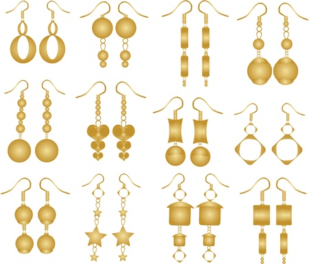 bead jewelry: Set of golden earrings Illustration