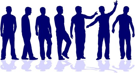 body silhouette: group of men Illustration
