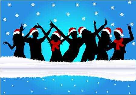 finale: Christmas time - blue background  Illustration