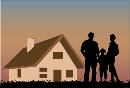 Happy family with a house in the background Stock Vector - 16556792