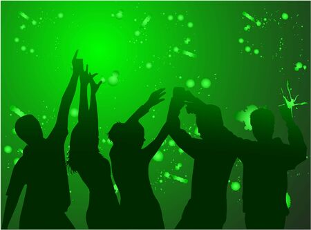 dance shadow: Dancing silhouettes-green background