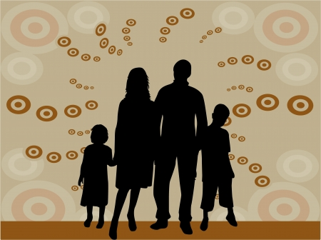 happy family nature: illustration of family silhouettes  Illustration