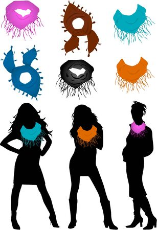 scarves: Scarves - a set of womens Illustration