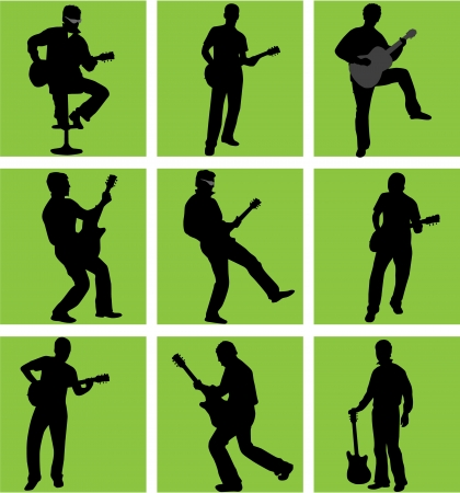 drum and bass: high quality guitar player silhouette set  Illustration