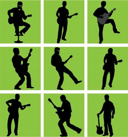 hoge kwaliteit gitarist silhouet set