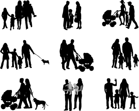 children silhouettes: Silhouette of parents and children  Illustration