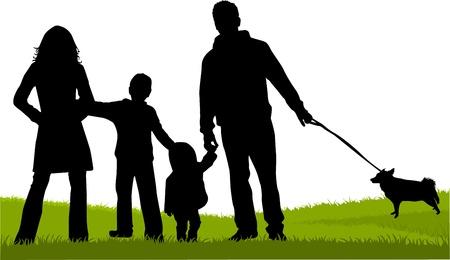Familia silueta Foto de archivo - 16701696