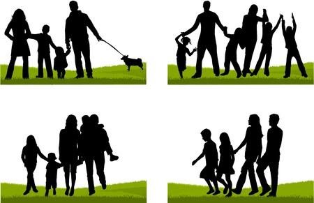 perro familia: Familia silueta
