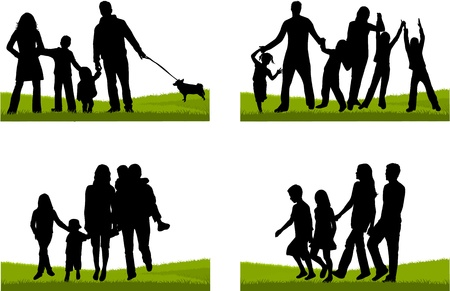 family with dog: Family silhouette