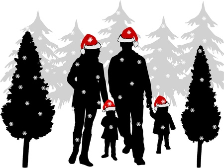 family picture: Christmas family picture Illustration