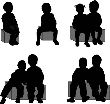 group of children's silhouettes Stock Vector - 17211079