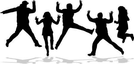 gente saltando: Siluetas de salto