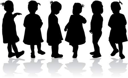 little boy and girl: Silhouettes of children