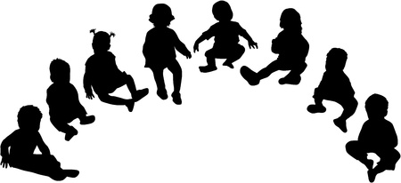 silhouettes of children Stock Vector - 17211081