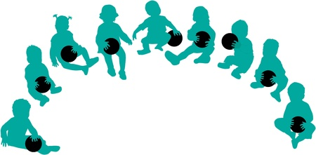 Silhouettes of children - playing with a ball Illustration