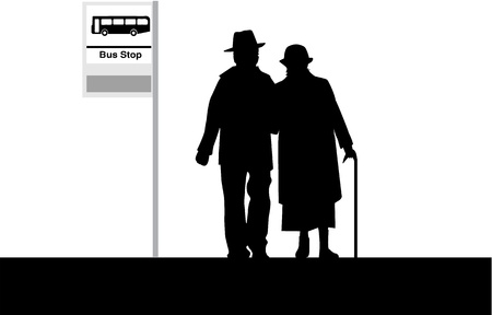 happy old age: Bus Stop - Senior Couple